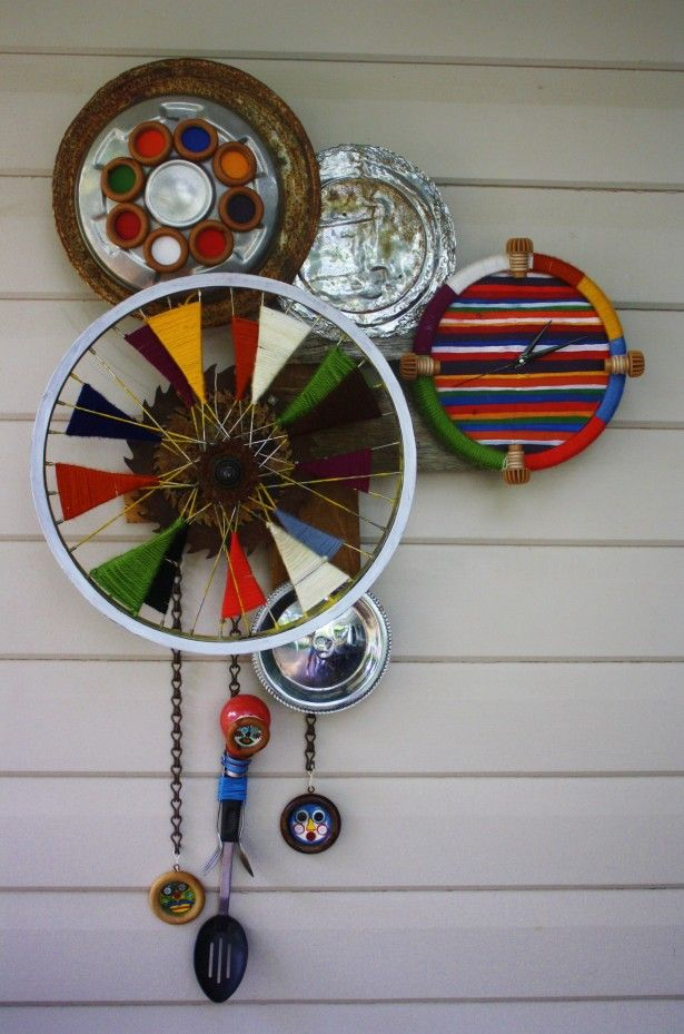Decoration, Recycled material wall clock unique and