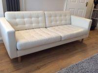 IKEA Landskrona 3 seat white leather sofa | White leather ...
