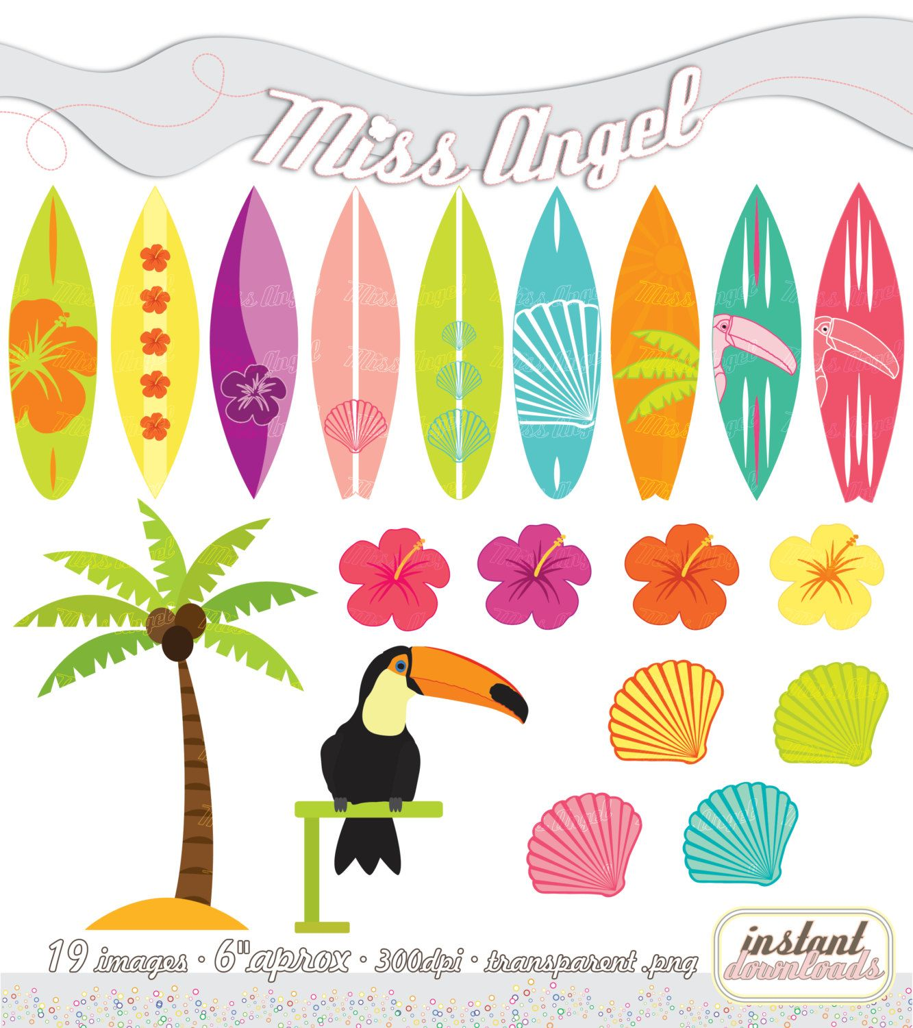 Tablas De Surf Decorativas Clipart Set Summer Printable Surfboards By