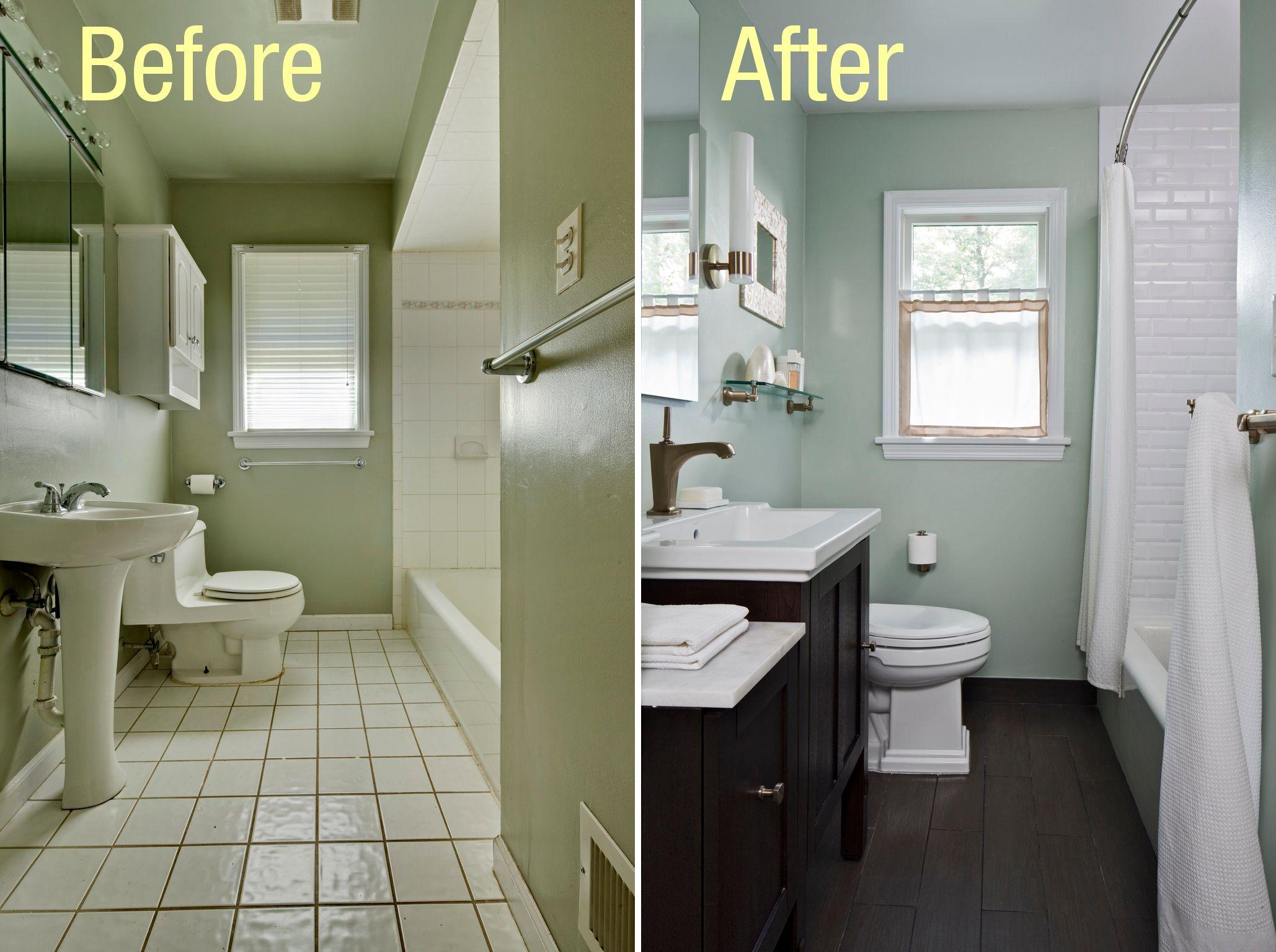 Bathrooms budget dark floor tiles wooden cabinets also