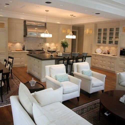 Great Room; kitchen, dining room, family room combo Maybe - living room and dining room combo