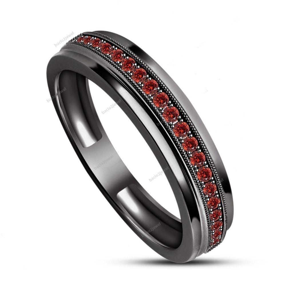 garnet wedding rings Details about Men s Lab Garnet Stone 14k Black Gold Finish Silver Wedding Band Ring
