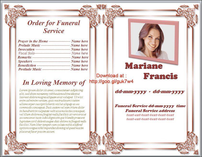 Modèle de Programme Funérailles Téléchargement Gratuit http - free download funeral program template