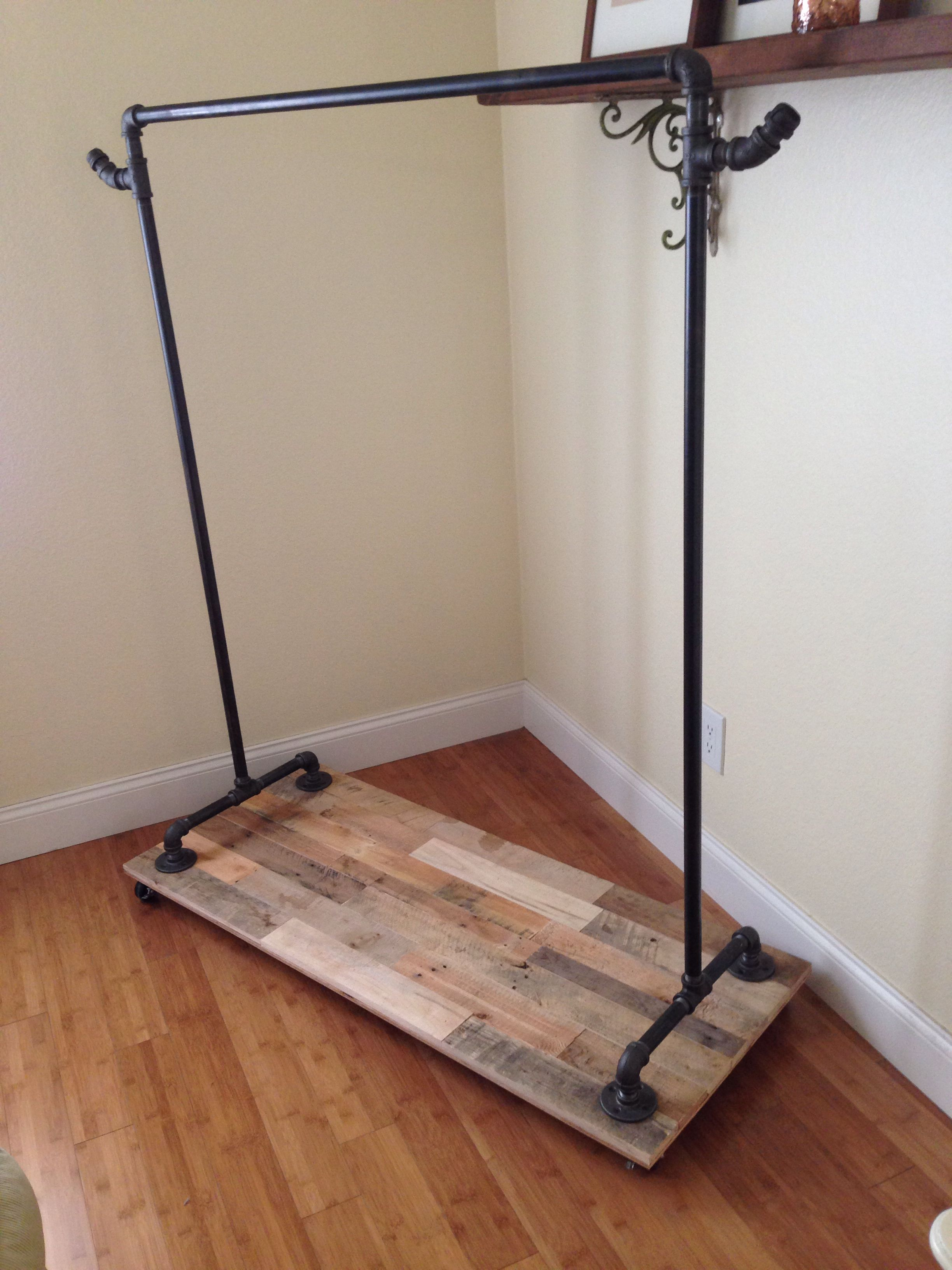 Pipe Clothing Rack With Reclaimed Pallet Base On Wheels