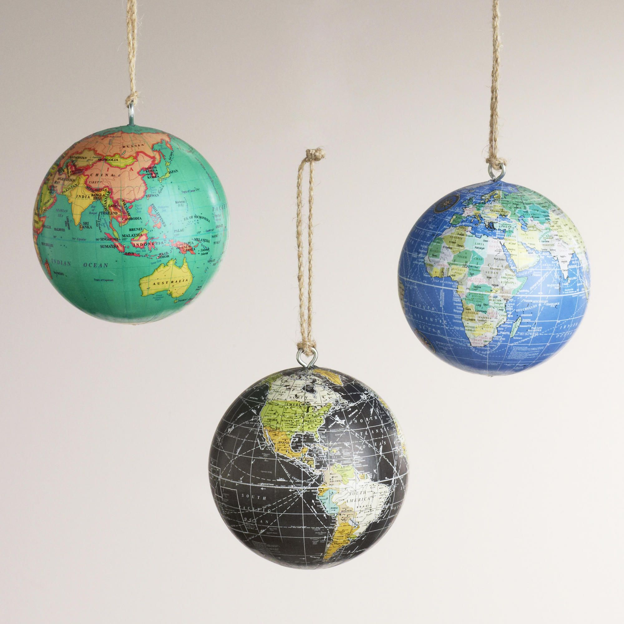 Gallery of world globe christmas ornaments
