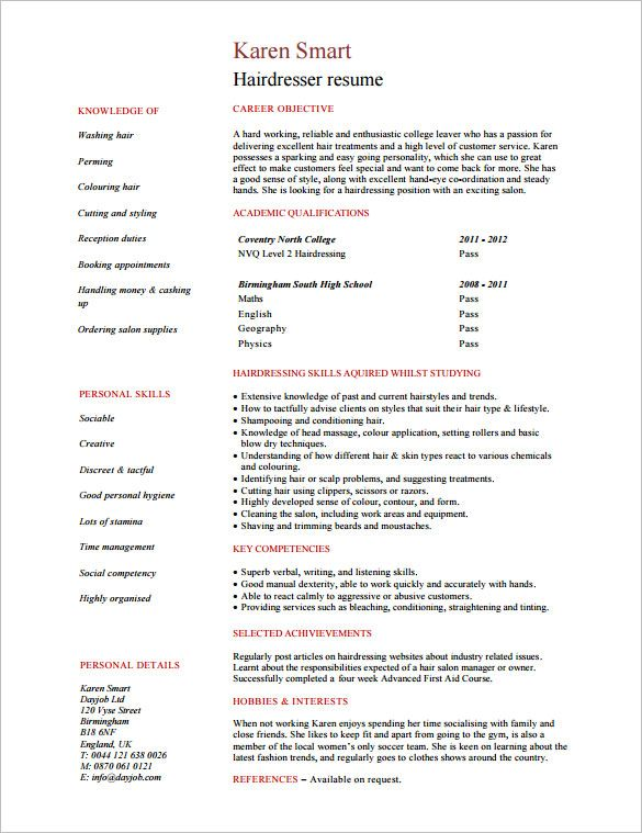 Hair Stylist Resume Template - 8+ Free Samples, Examples, Format - hair stylist resume example