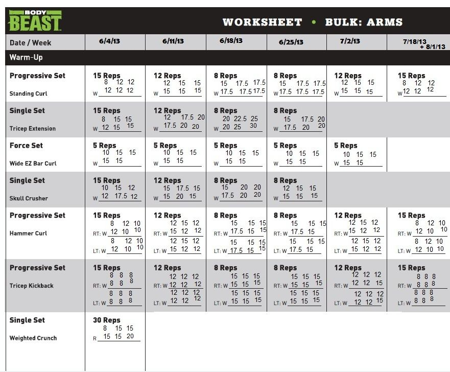 Beast Body Workout Sheets - Yahoo Image Search Results Body - beast workout sheet