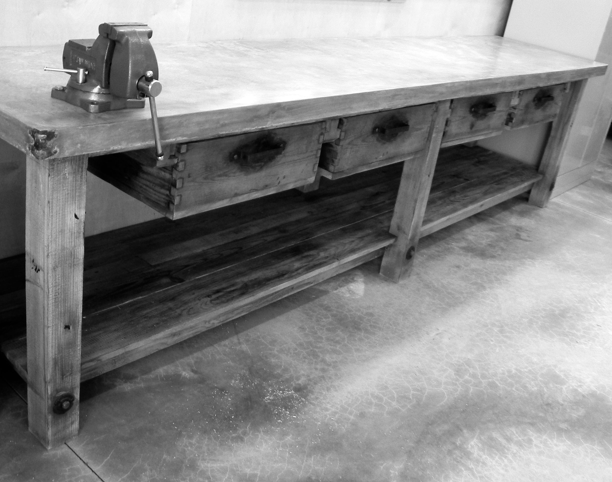 Workshop Countertop Concrete Counter Top On A Heavy Duty Work Bench Custom