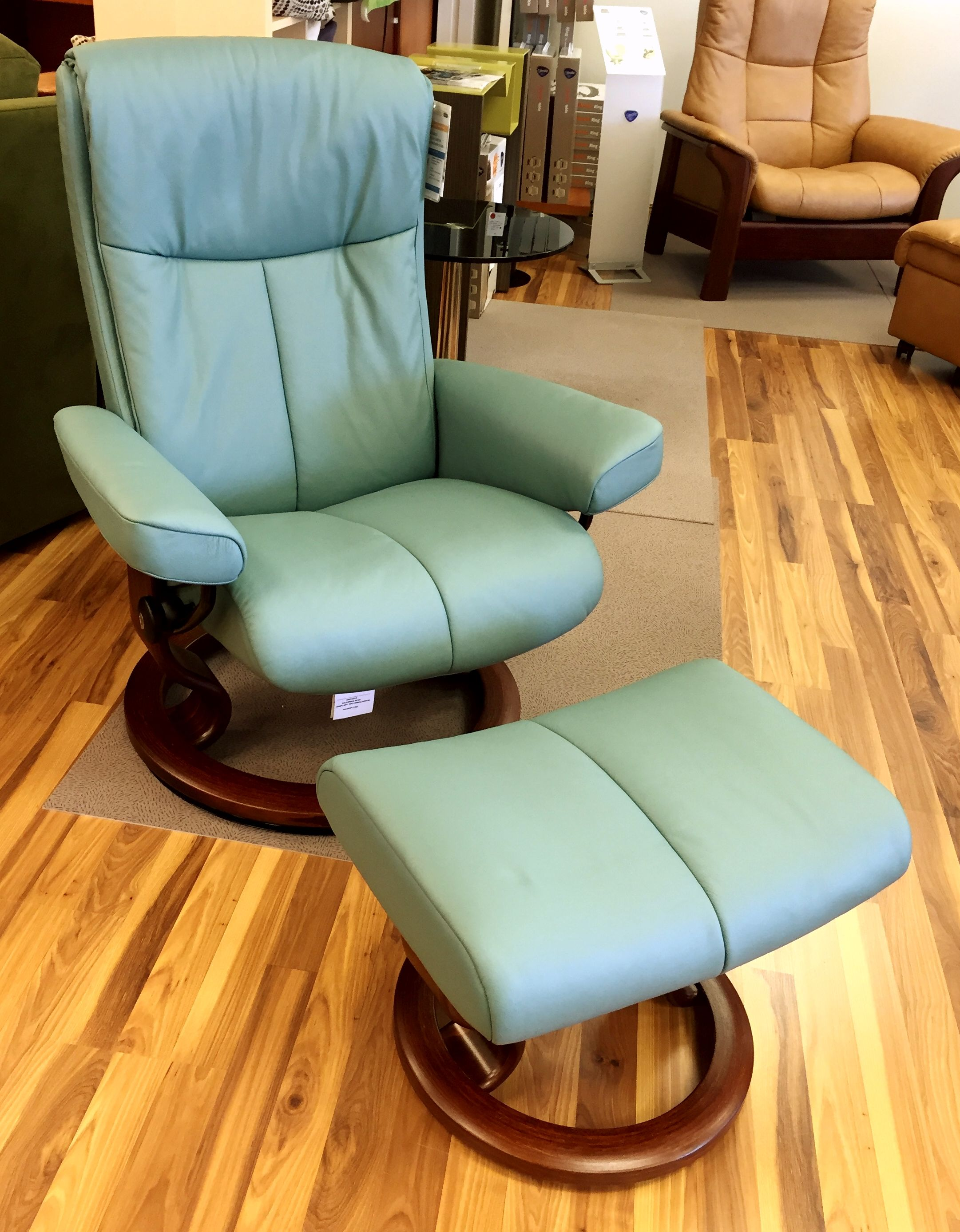 Stressless Sofa Ottoman Ekornes Stressless Peace Recliner And Ottoman In Paloma Aqua