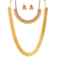 Buy Zeneme Red Gold-Plated Coin Chain Long Necklace, Short ...