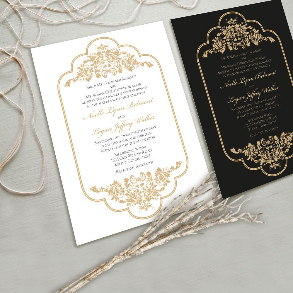 elegant wedding invitations Timeless and Elegant Wedding Invitation Suite White and Gold Black and Gold other color combinations possible