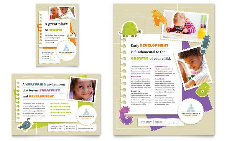 Kindergarten Flyer \ Ad Template Design Layout Ideas Pinterest - advertising flyer template
