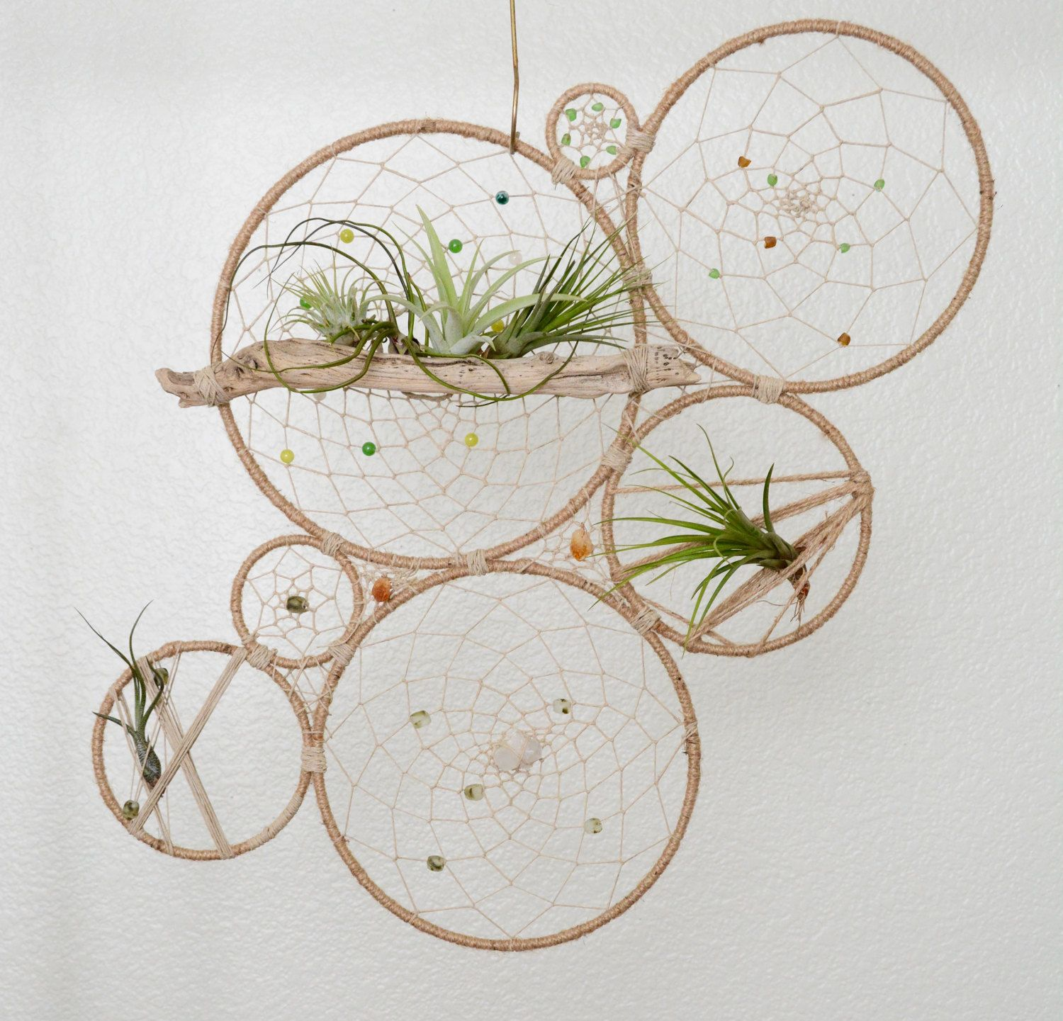 Wall Hanging Plants Round Air Plant Holder Natural Tillandsia Dreamcatcher