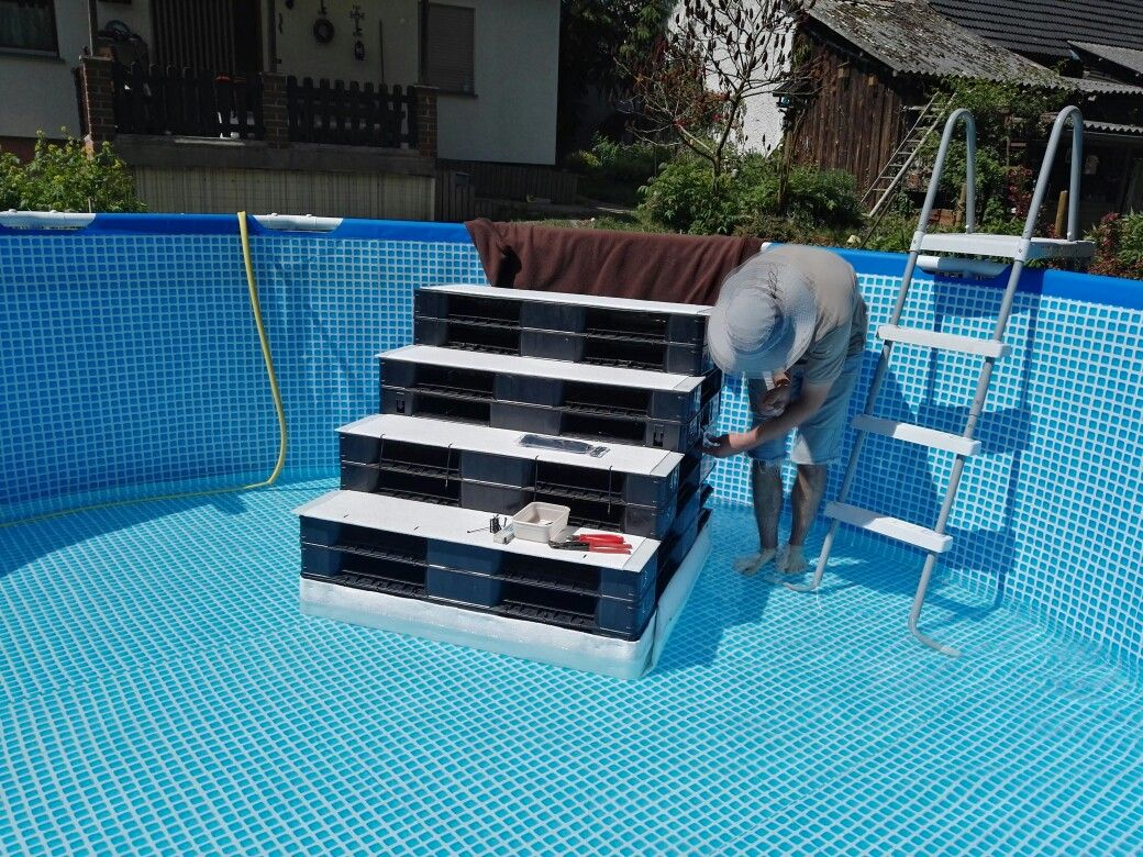 Pool Mit Paletten Verkleiden Above Pool Pool Treppe Pool Stairs Dog Stairs Dog Ramp