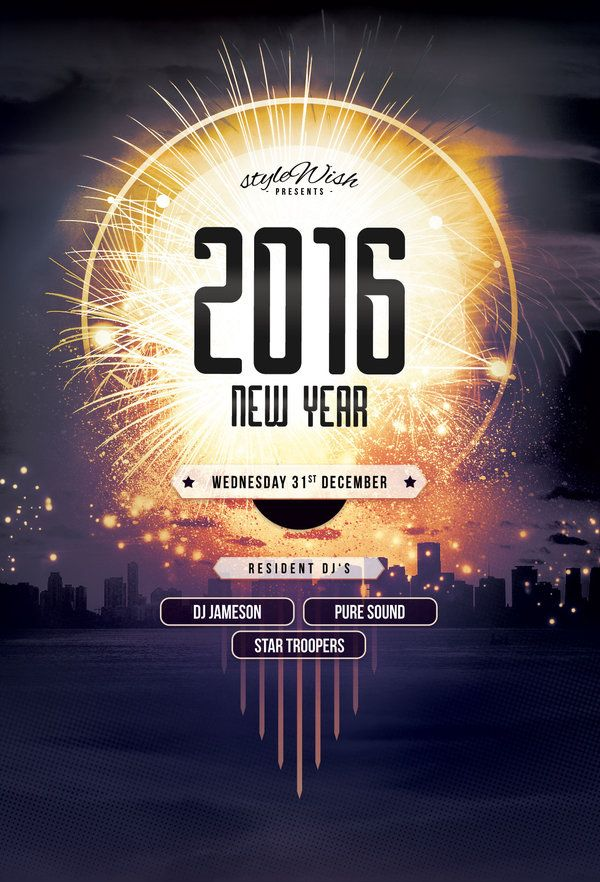 New Year Flyer Print design, Flyer template and Flyers - new year poster template