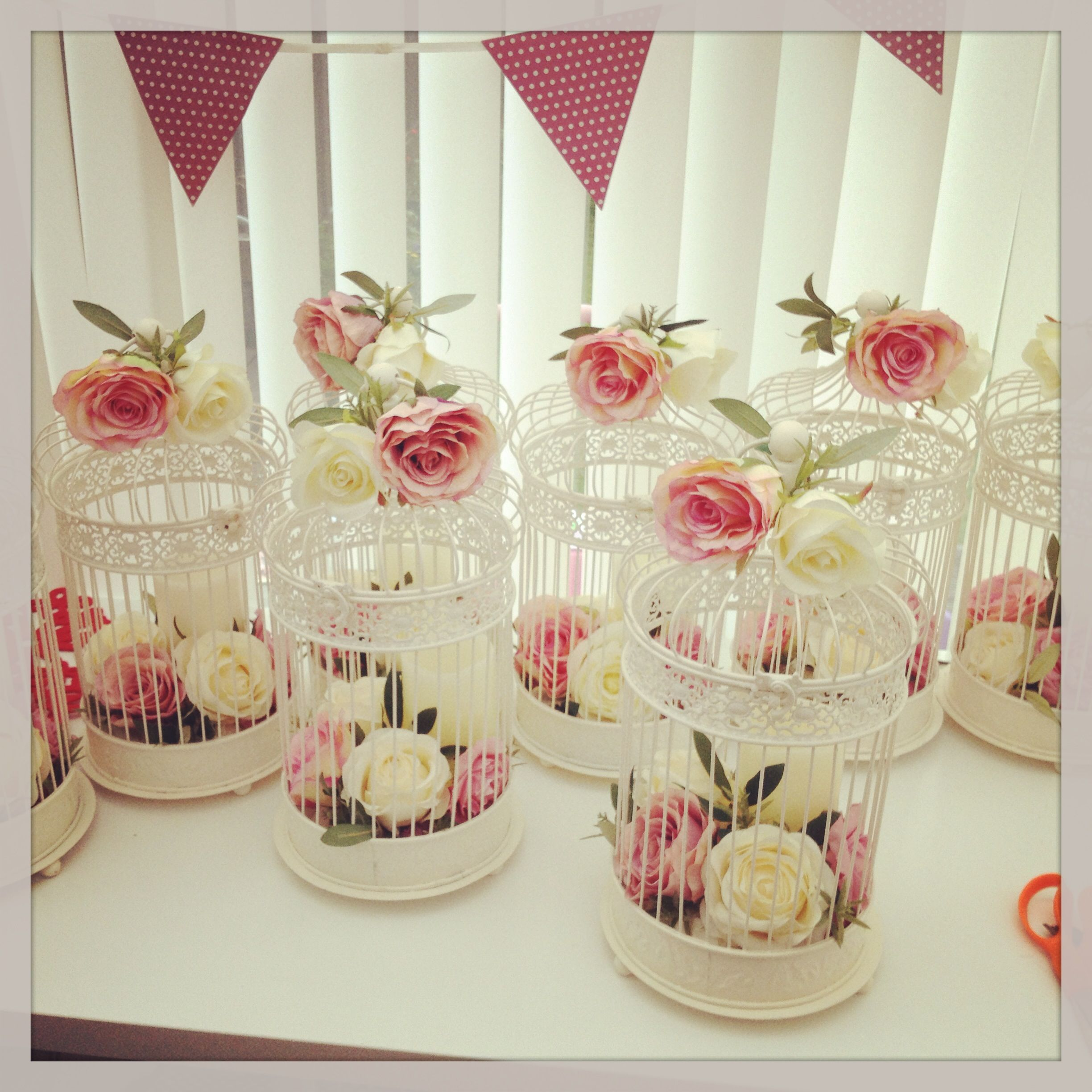 wedding supplies Lots of lovely vintage birdcage centrepieces by Elegant Wedding Supplies ready for a wedding