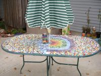 Lovely Custom Oval Patio Table With Appealing Colorful