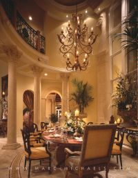 Classic Mediterranean dining room, chandelier, high ...