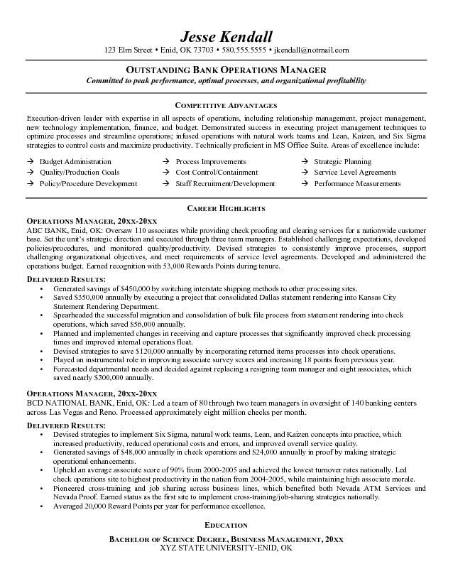 Banking Executive Manager Resume Template - http\/\/www - operations management resume