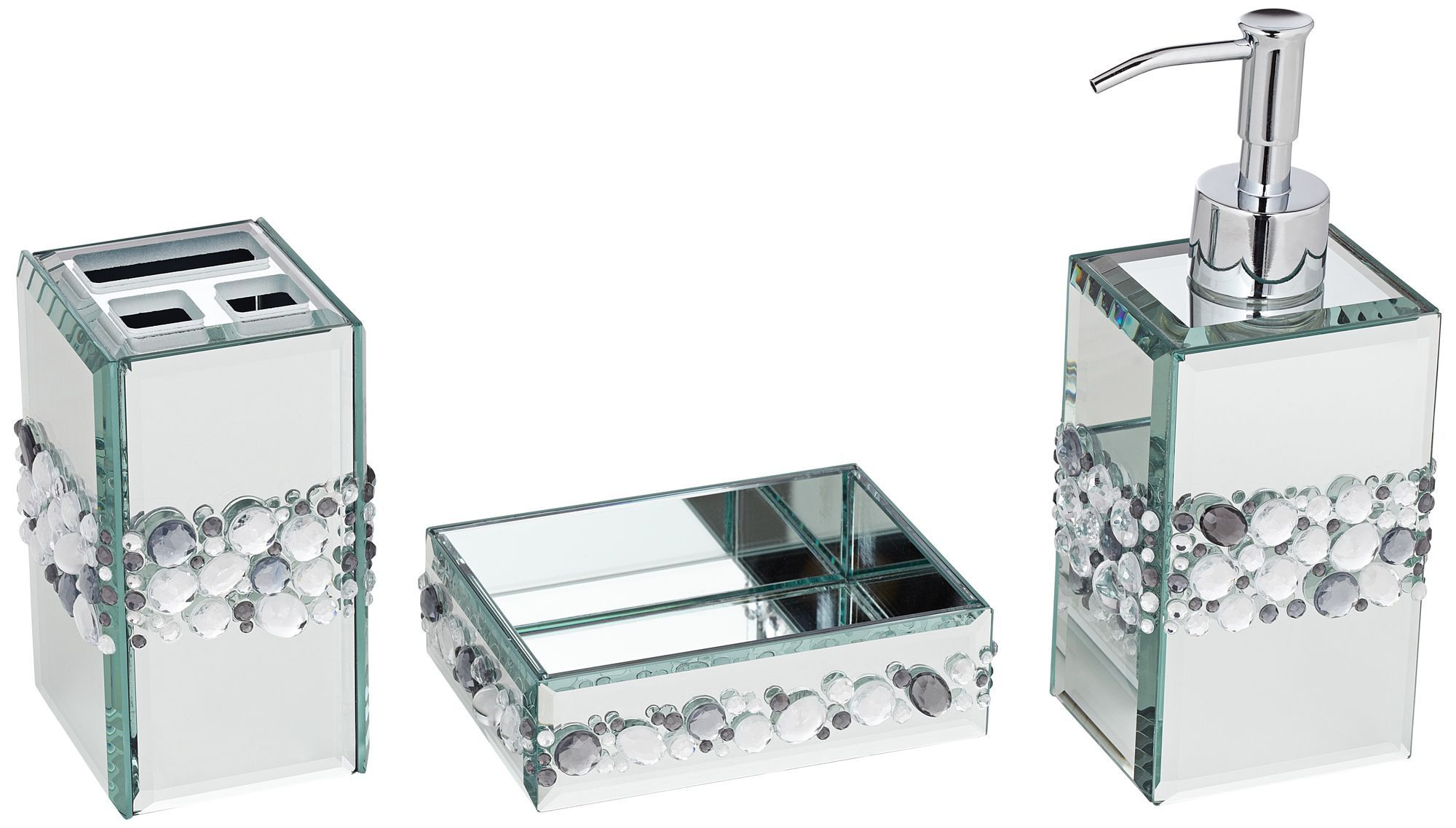 Mirrored Bathroom Accessories Sets Jeweled Mirror 3 Piece Bathroom Accessory Set