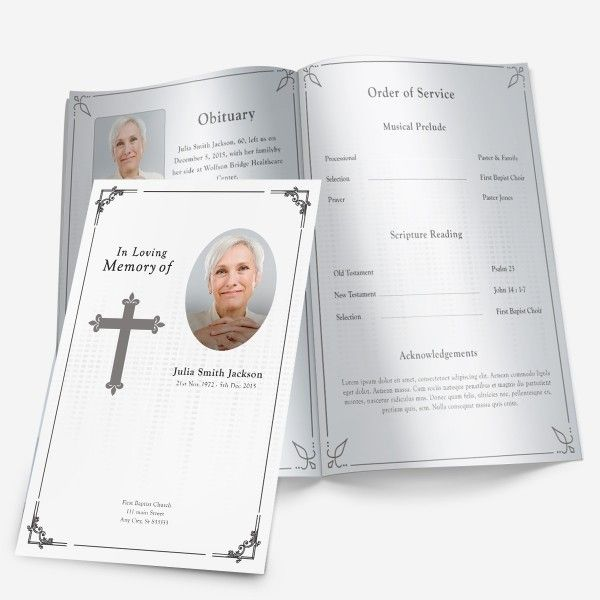 Traditional Cross Funeral Program More theme designs and - funeral program template microsoft