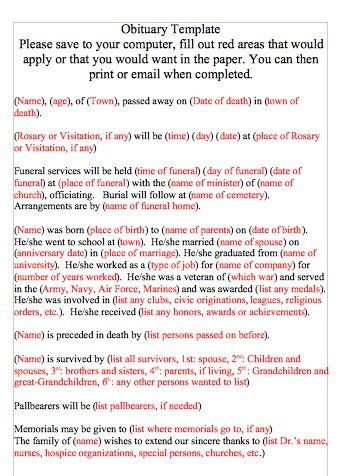 Obituary Template Word 02 Funeral Pinterest Newspaper - funeral obituary template