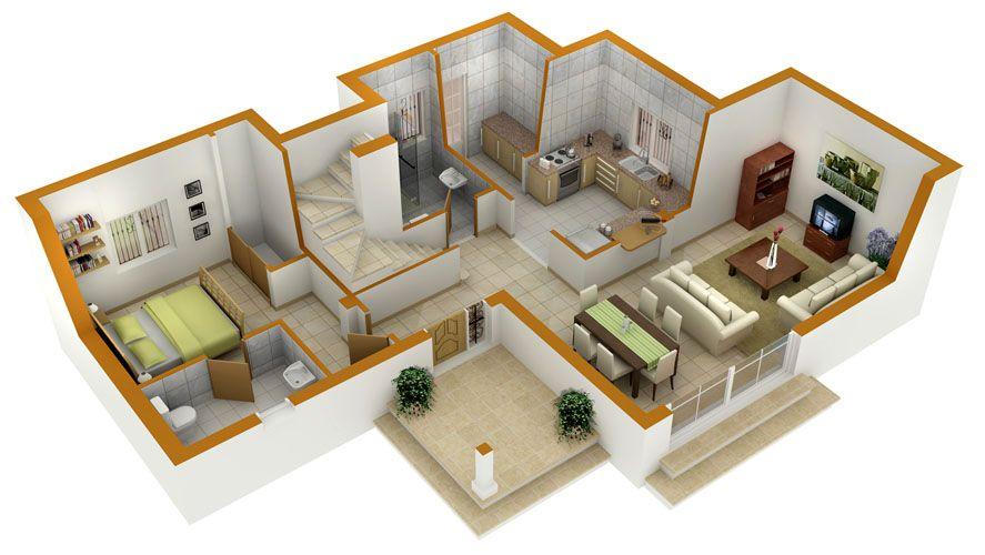 Perfect 3d House Blueprints And Plans With 3d Floor Plans 1 2 3 4 - 3d house plans