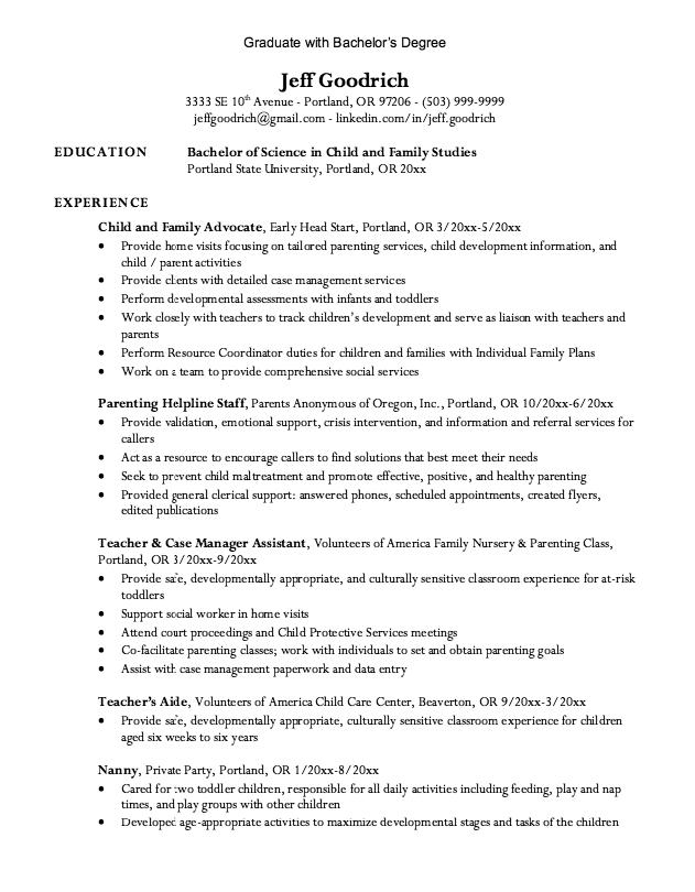 bachelor degree resumes