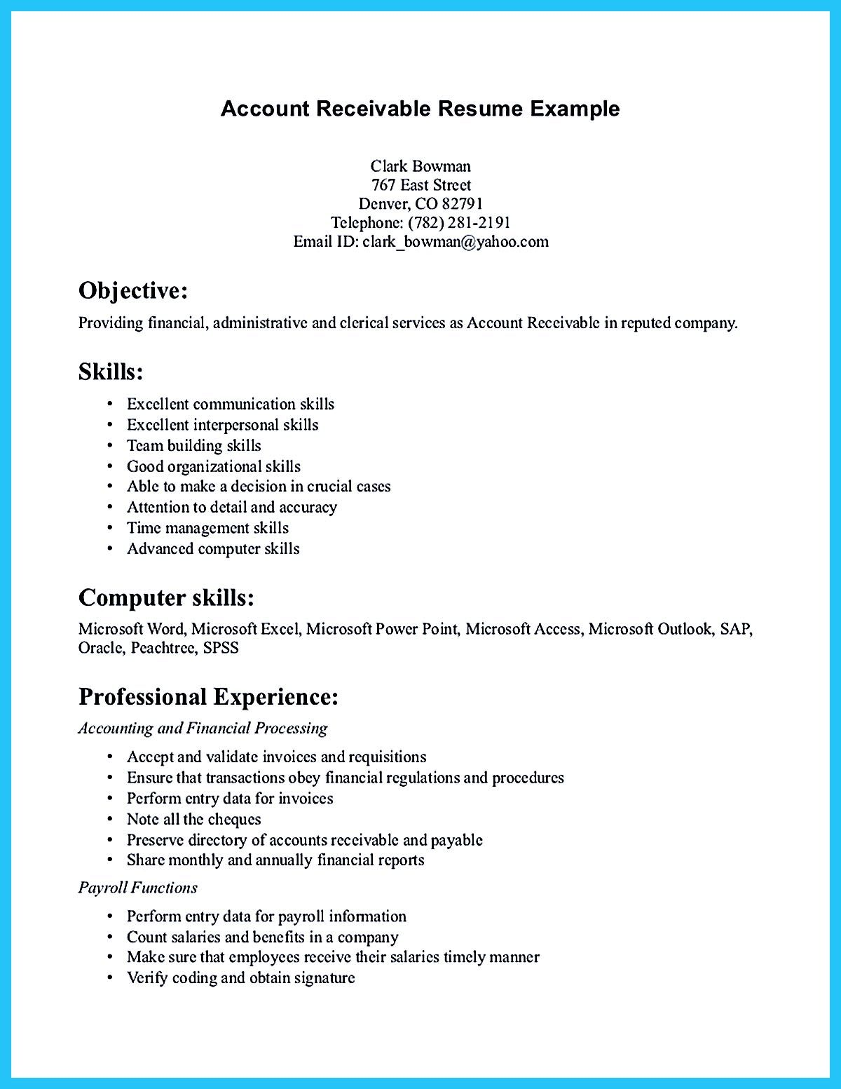 resume objectives examples for accounts receivable