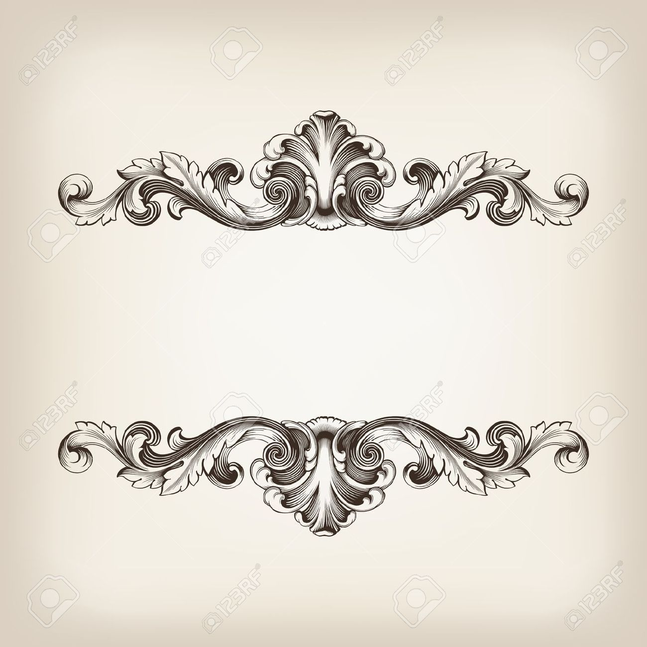 Vintage Design Vintage Border Frame Filigree Engraving With Retro