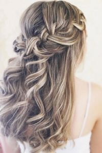 Beautiful crown braid half up half down wedding hair ...