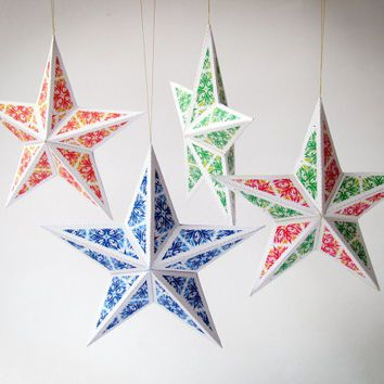Image result for 3d diamond paper template PAPER \ CARDBOARD - christmas star decorations