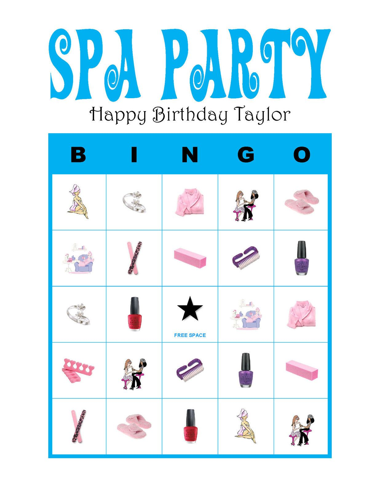 Game Beauty Salon Spa Nail Party Personalized Girl Diva Birthday Party Game