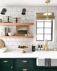 white tile, open shelving, farmhouse sink, and dark green ...