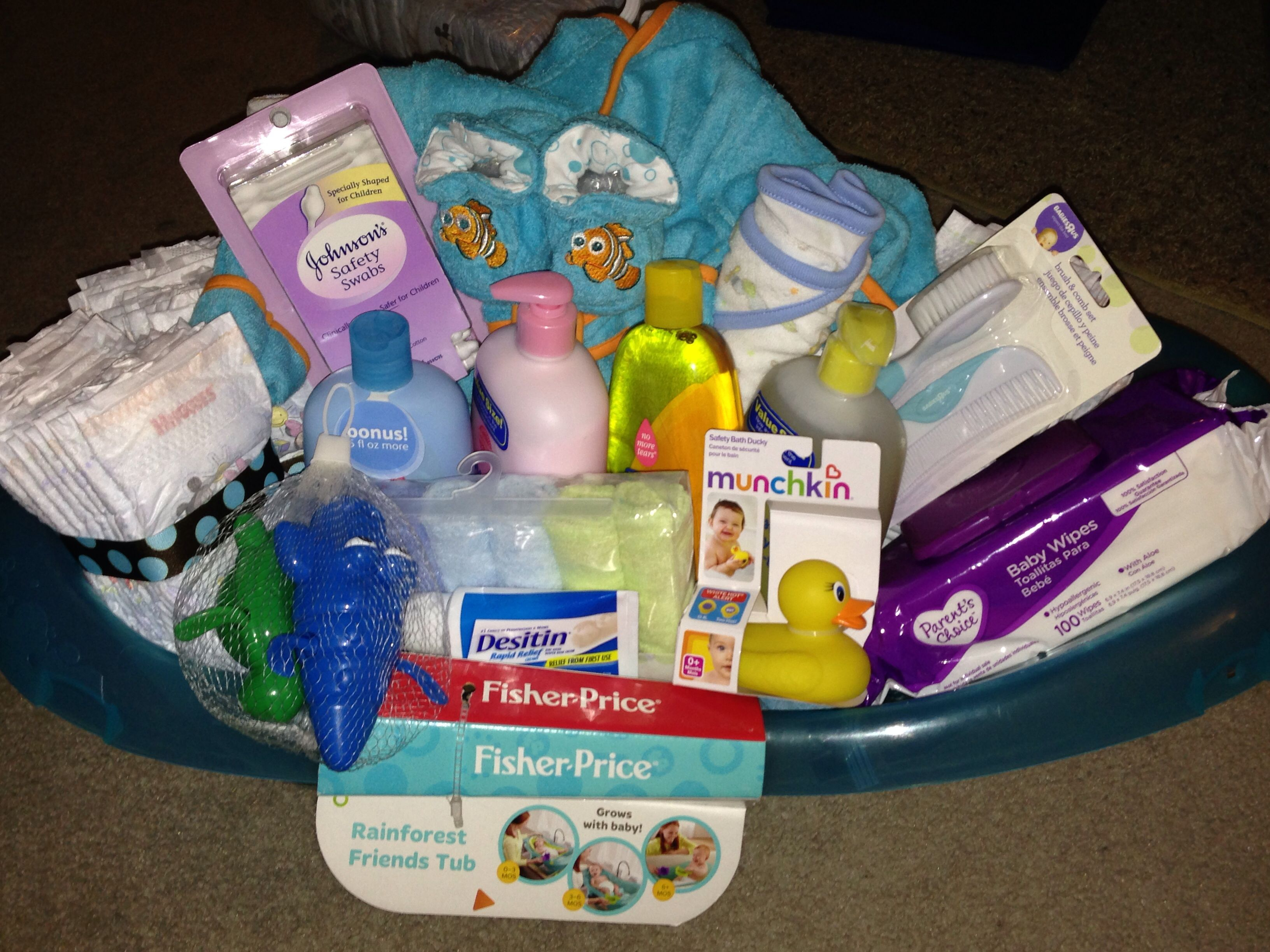 Baby Laundry Basket Gift Baby Bath Gift Basket Baby Shower Ideas Pinterest