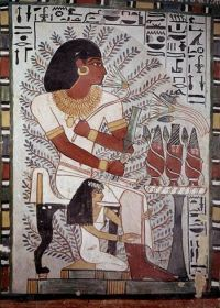Egyptian wall painting Sennefer seated with wife Tomb Of ...