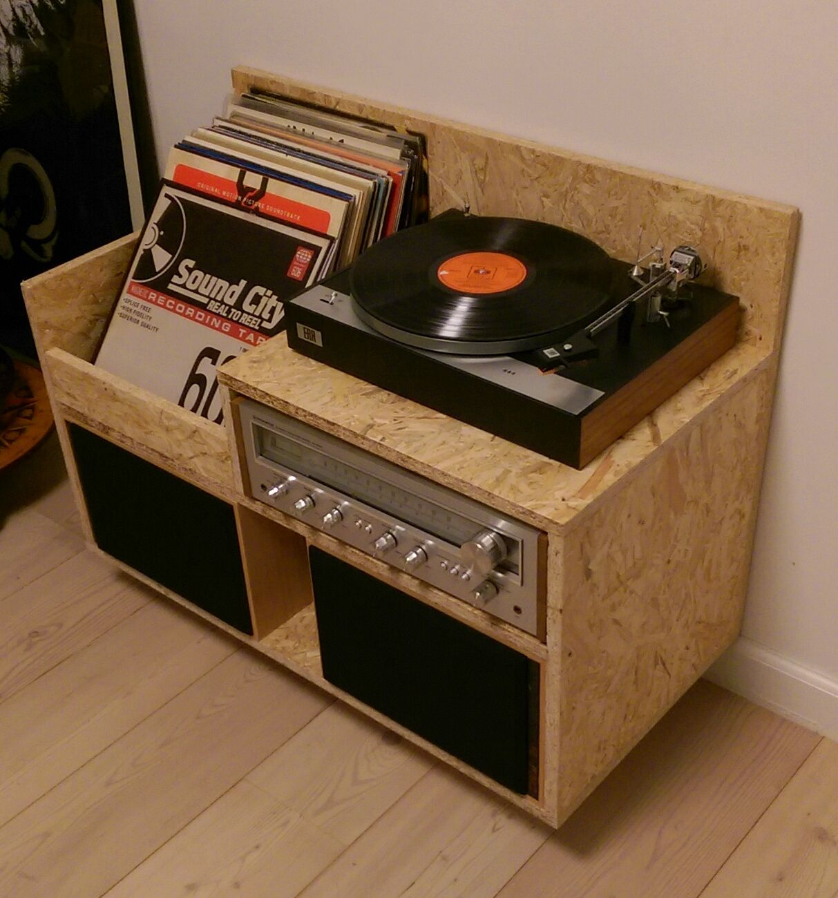Platenspeler Meubel My Homemade Osb Record Player Storage Furniture Records