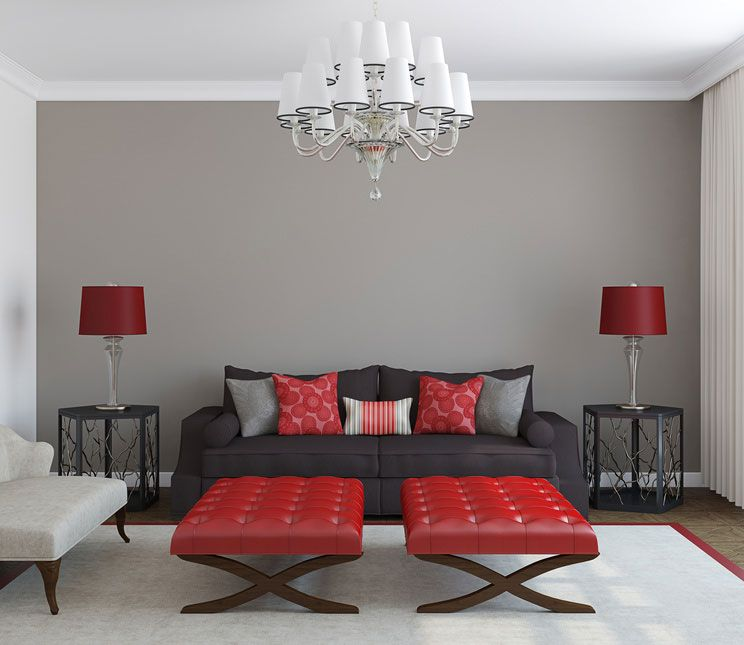 You had me at Grey! Black furniture, Red accents and Bedrooms - grey and red living room