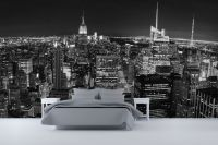 Panoramic New York Wall Mural Ideas In Bedroom Design With ...