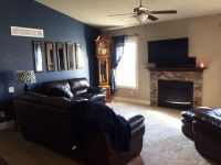 Gray navy brown living room and kitchen | living room 1 ...