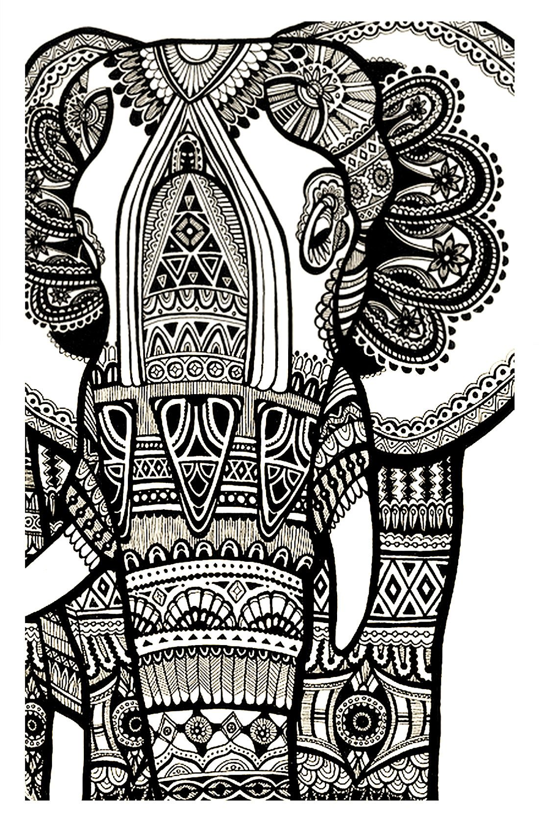 Free coloring pages elephant -  Free Coloring Page Coloring Elephant Te Print For Download