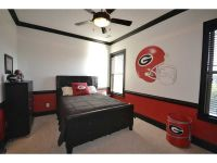 Red & White wall with black crown molding, chair rails ...