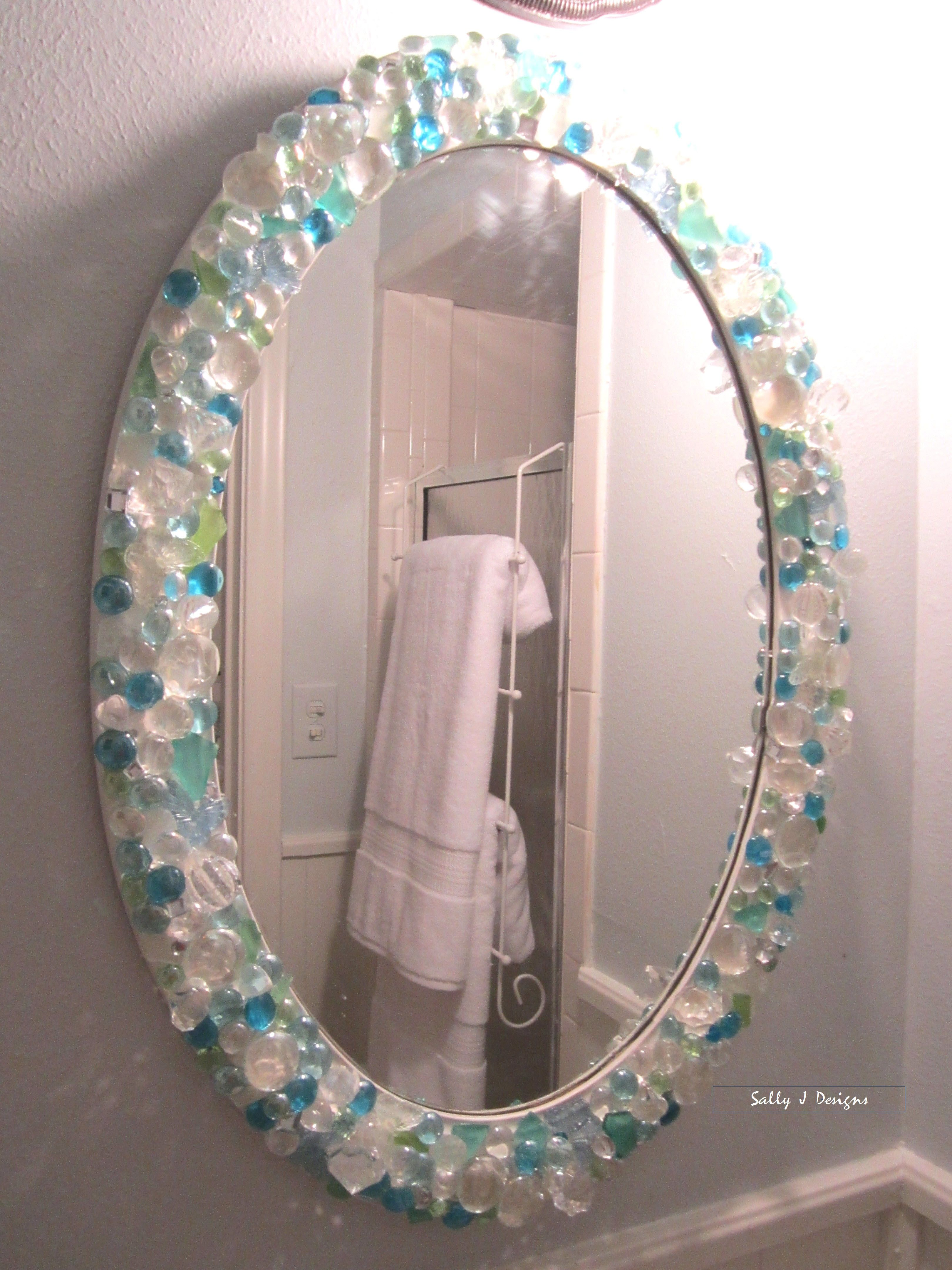 Diy Picture Frame With Glass Mirror In Small Bathroom Is A Diy With Sea Glass Crystals