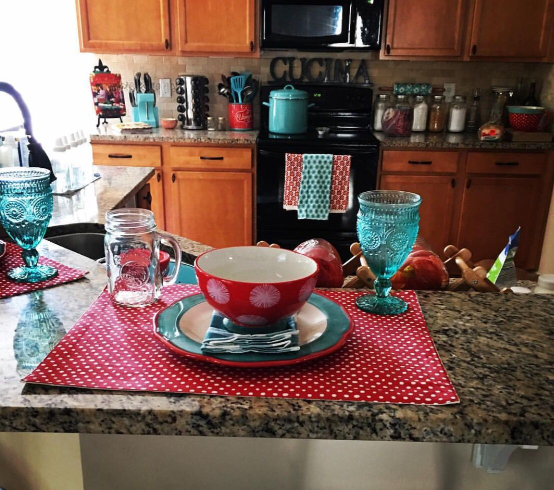 Teal Kitchen Decorating Ideas Pioneer Woman Inspired Kitchen Turquoise And Red Polka