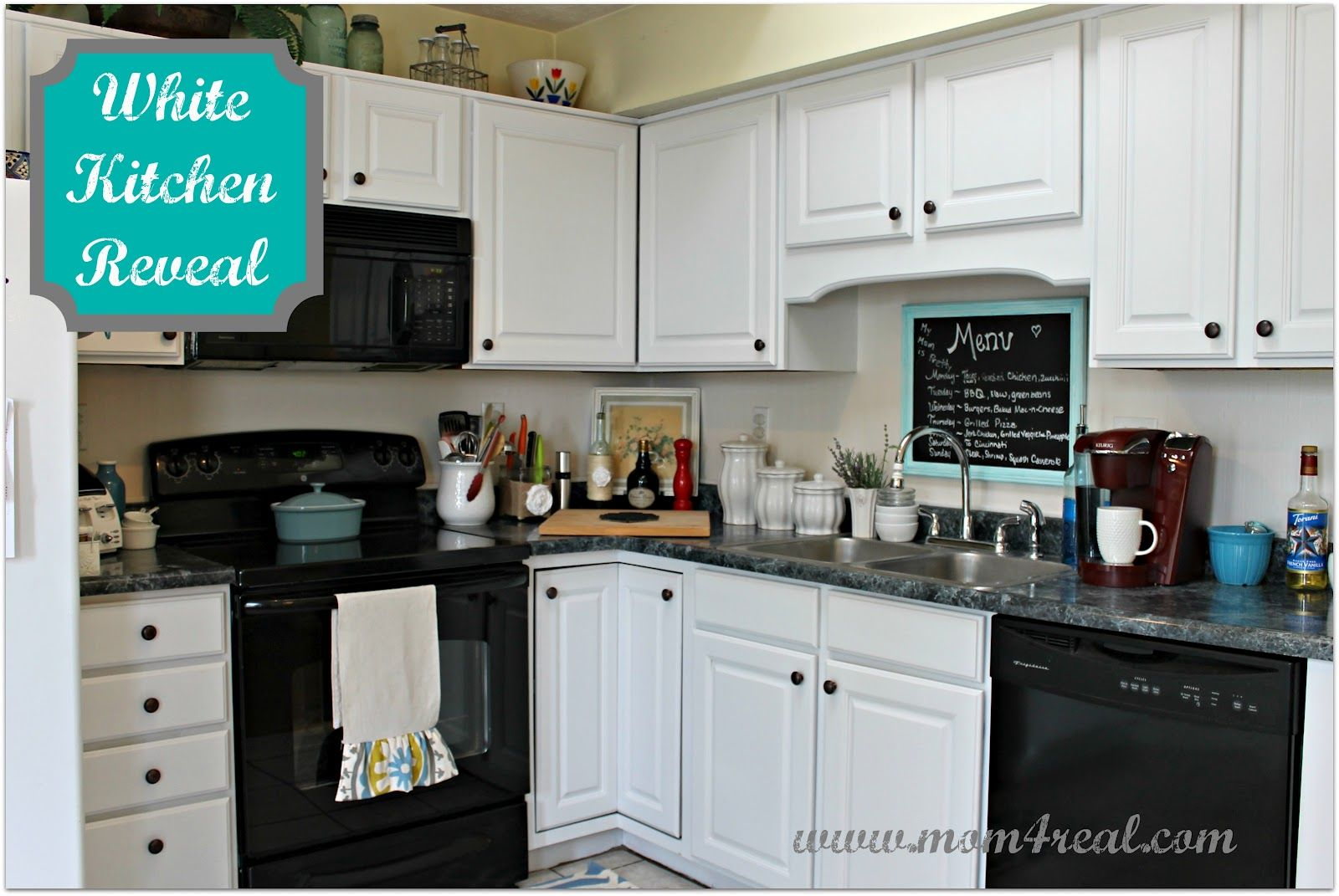 All White Kitchens With White Appliances White Kitchen Reveal A Before And After Black Appliances