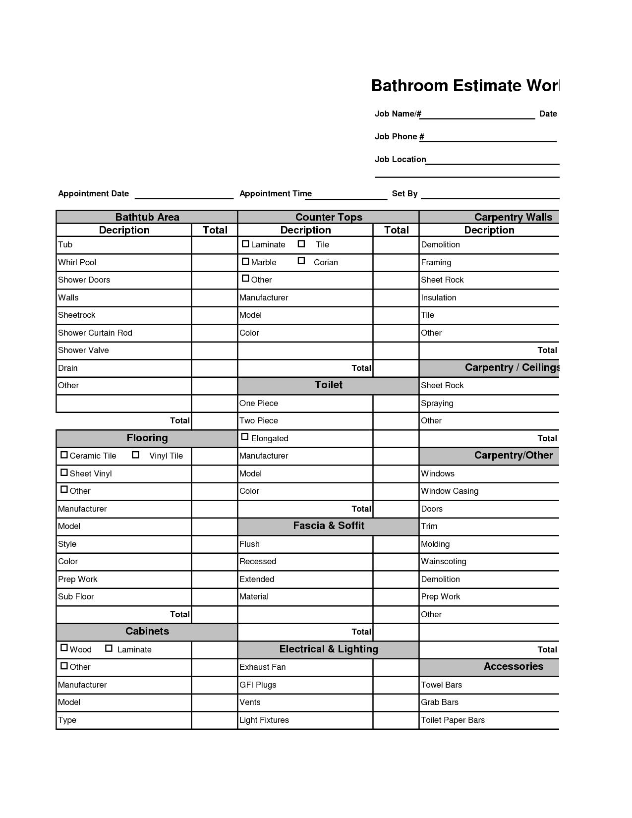 kitchen remodeling costs home remodeling cost estimator bathroom remodel estimate bathroom estimate worksheet 81 kb