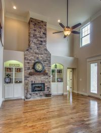 Large stone gas fireplace, built in bookcases, vaulted ...