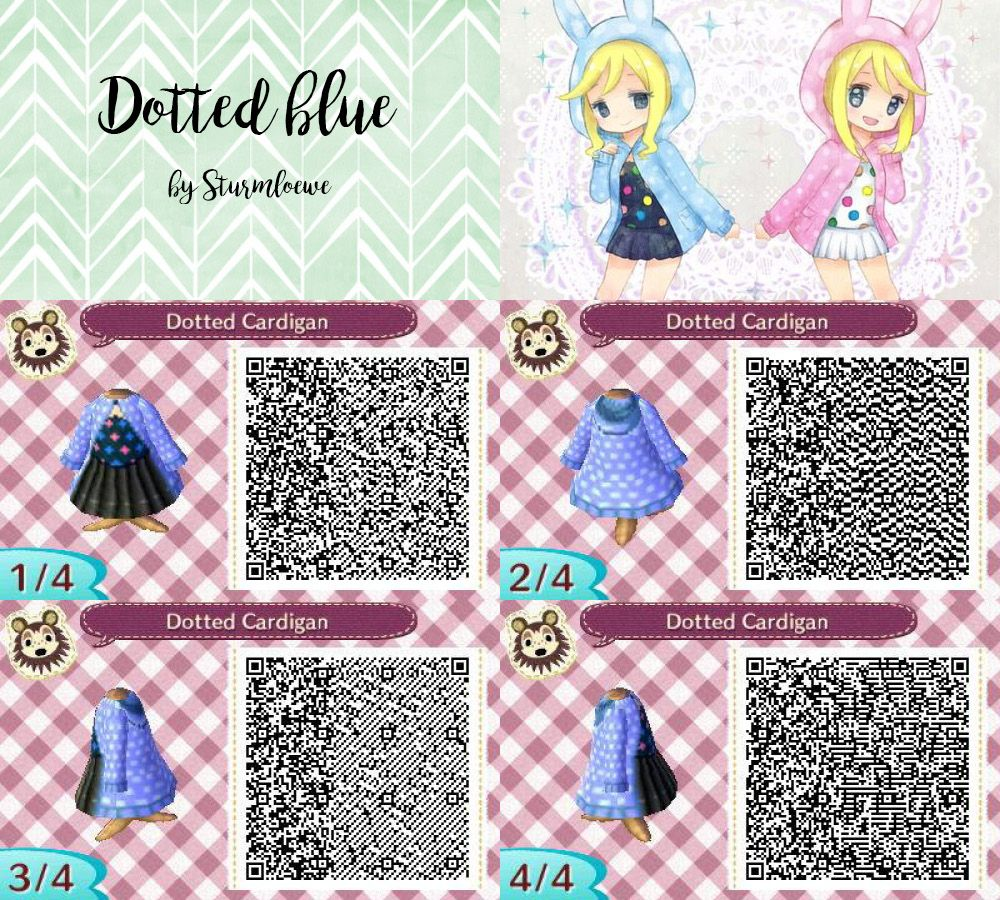 Animal crossing new leaf qr code cute blue black white dotted dress with hood outfit fashion