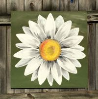 Daisy Painting on Wood Panel Original Flower Art Green and ...