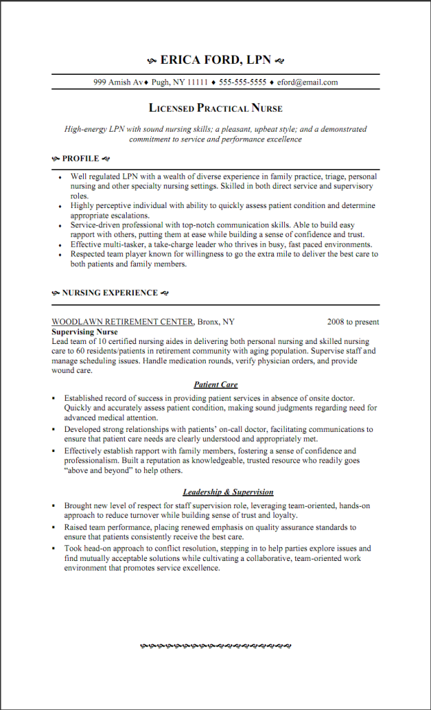 resume objective example for lpn